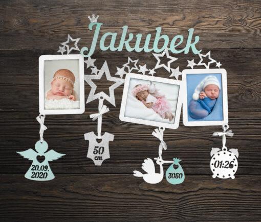 Dřevěný fotorámeček s porodními údaji JAKUBEK