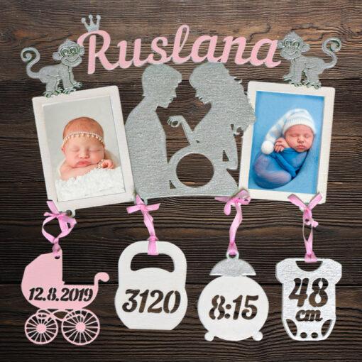 Dřevěný fotorámeček s porodními údaji RUSLANA